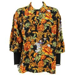 1980s Salvatore Ferragamo Silk Patterned Blouse