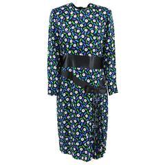1980s Balmain Ivoire Black Patterned Silk Dress