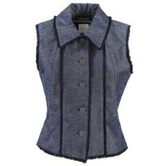 "2000 Chanel ""Identification"" Denim Waistcoat"
