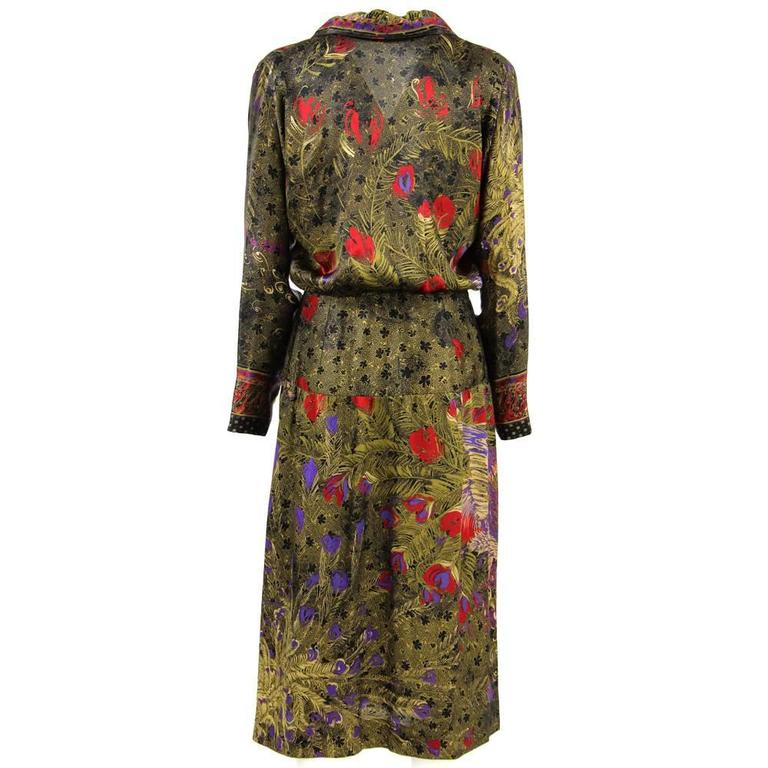 1970s Italian Printed Silk Dress At 1stdibs