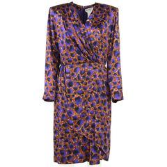 1980s Pierre Balmain Printed Silk Dress