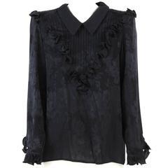 1980s Valentino Black Silk Shirt