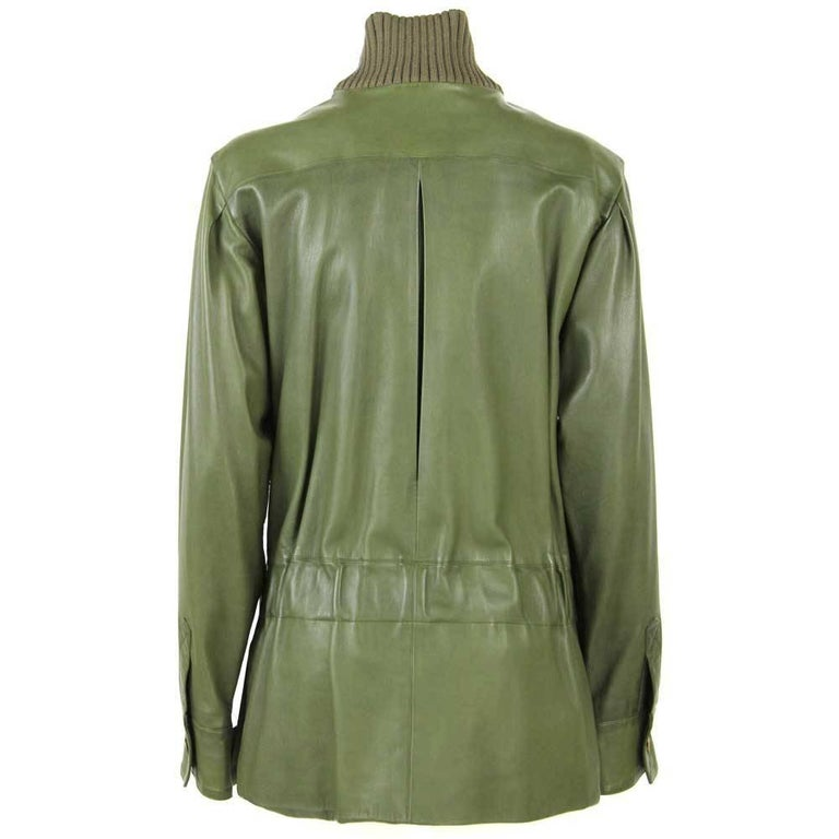 2001s Chanel Green Leather Jacket For Sale at 1stdibs