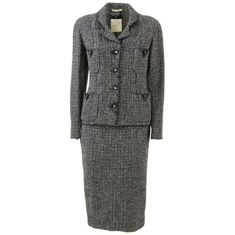 1980s Chanel Houndstooth Wool Suit
