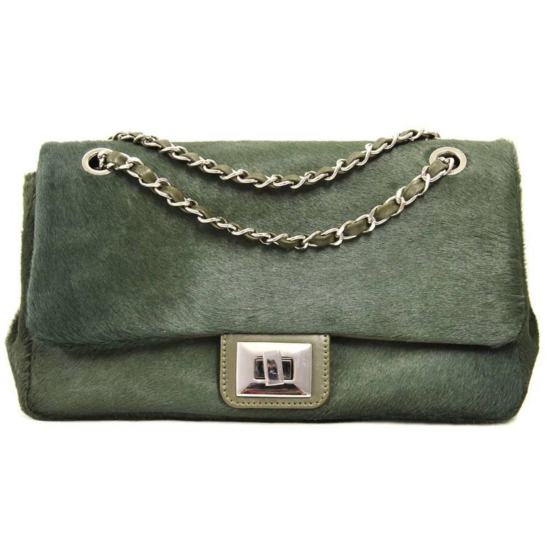 1de051632f2e 2000s Green Calf Hair Shoulder Bag For Sale at 1stdibs