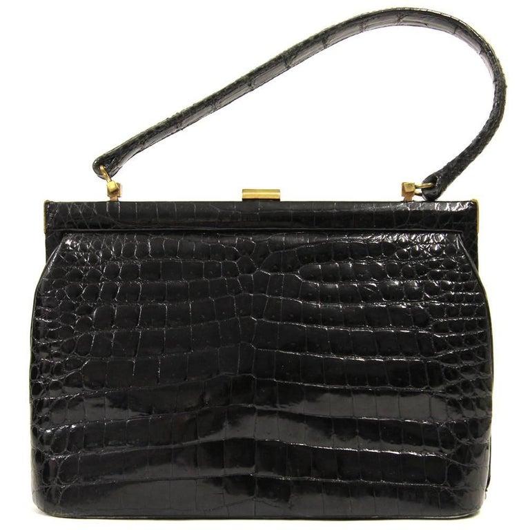 1950s Gucci Black Crocodile Leather Purse At 1stdibs