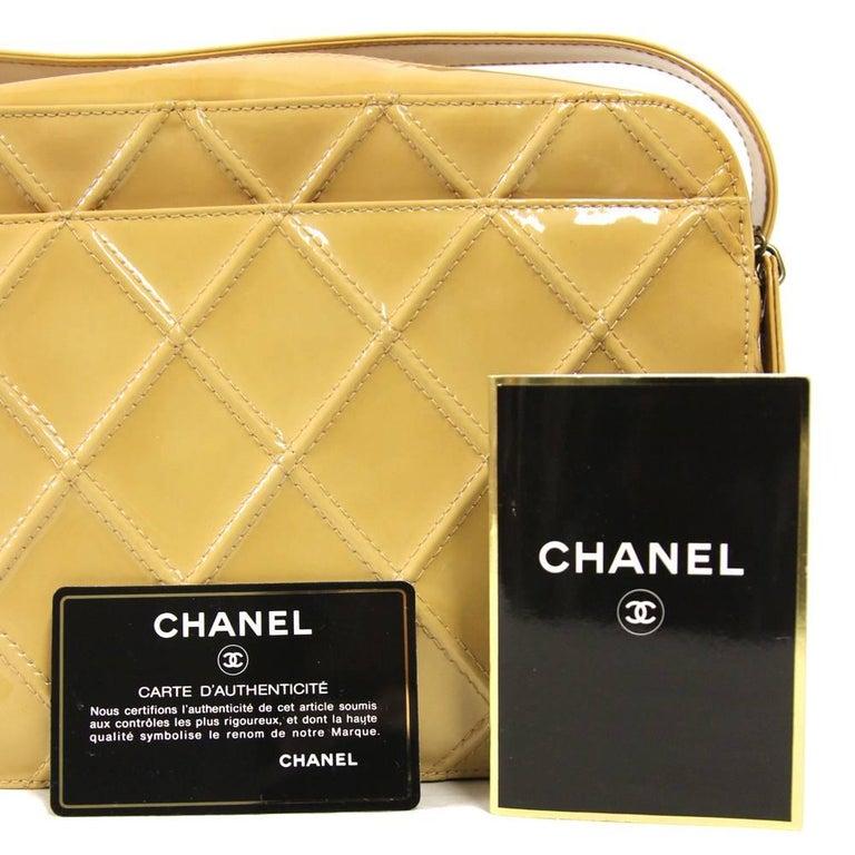 2000s Chanel Beige Leather Shoulder Bag For Sale 2