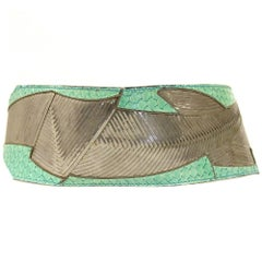 1980s Emilio Pucci Green Printed Leather Belt