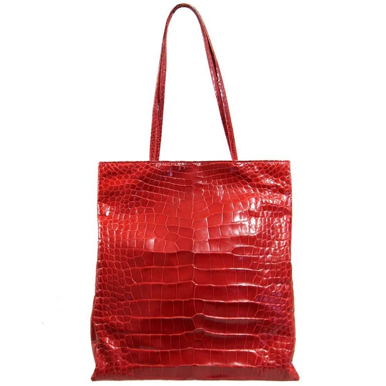 2000s Centro Laro Red Crocodile Leather Bag