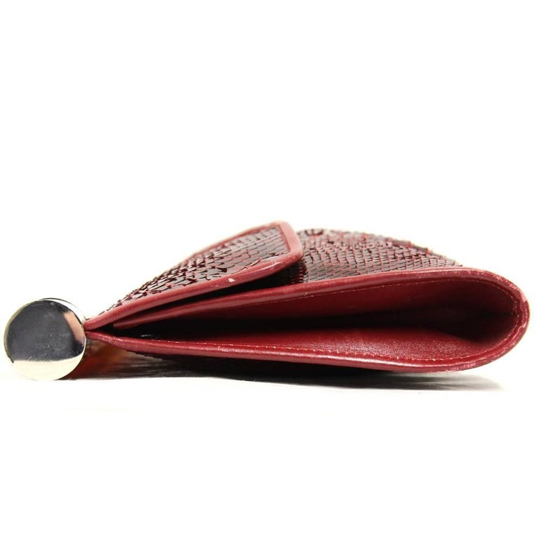Brown 1970s Gherardini Purple Red Python Skin Clutch For Sale
