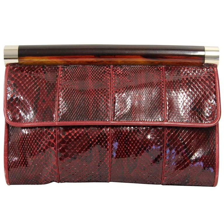 1970s Gherardini Purple Red Python Skin Clutch For Sale