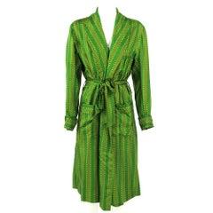 1980s Ken Scott Green Silk Wrap Dress