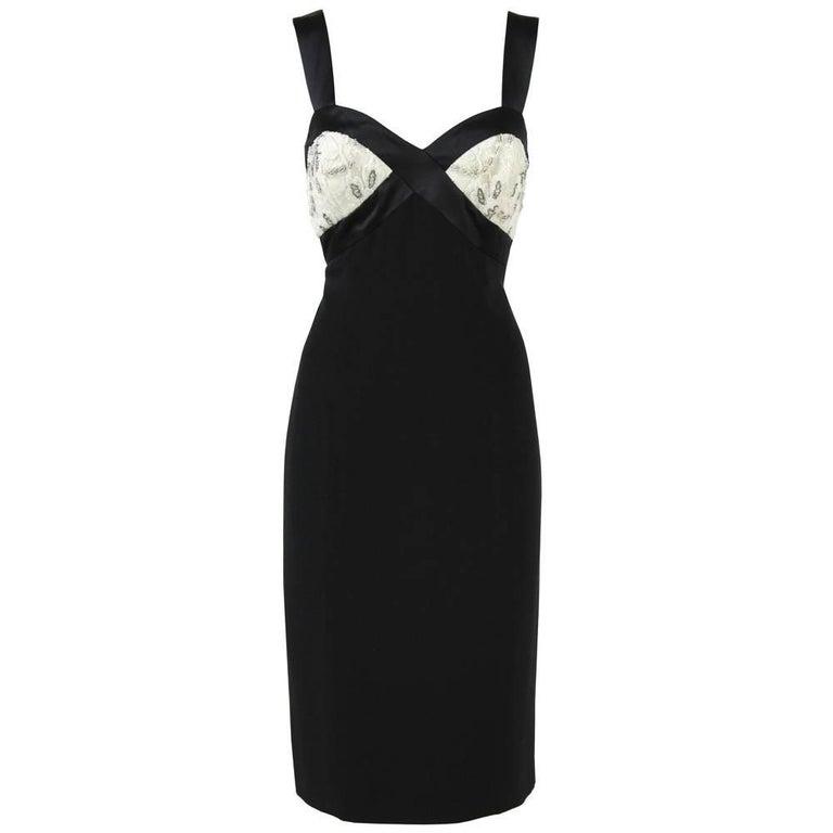 1990s Mila Schon Black and White Dress