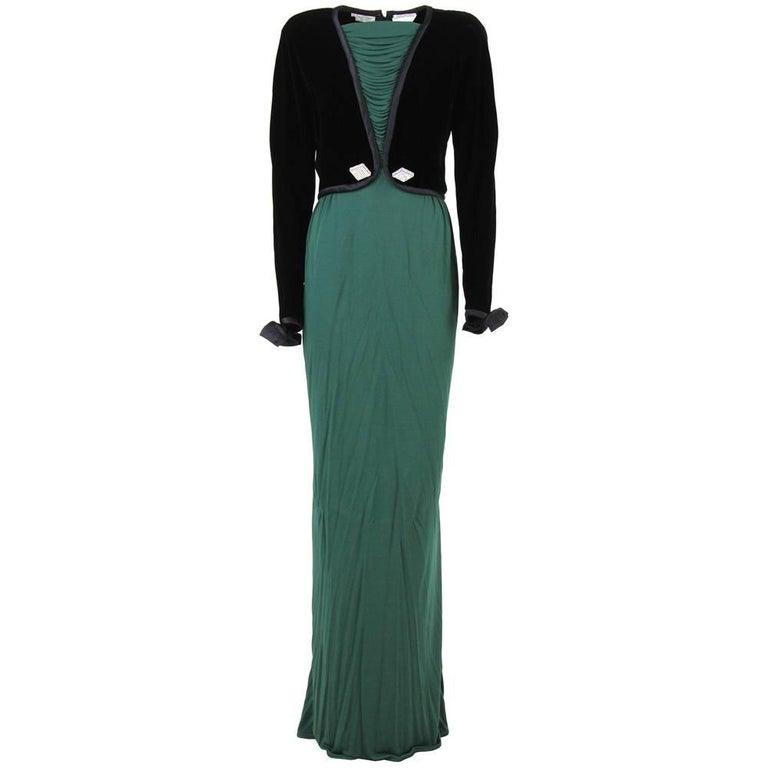 1990s Valentino Emerald Green Maxi Dress
