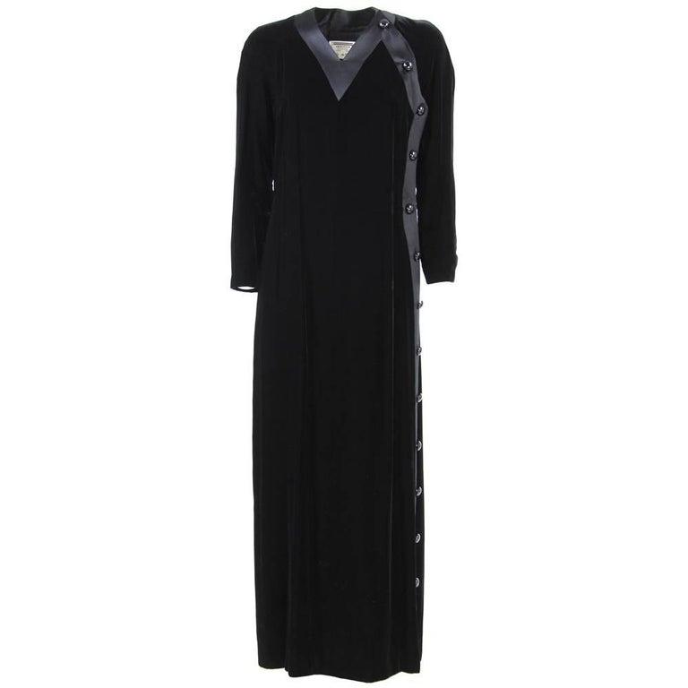 1970s Valentino Black Maxi Dress