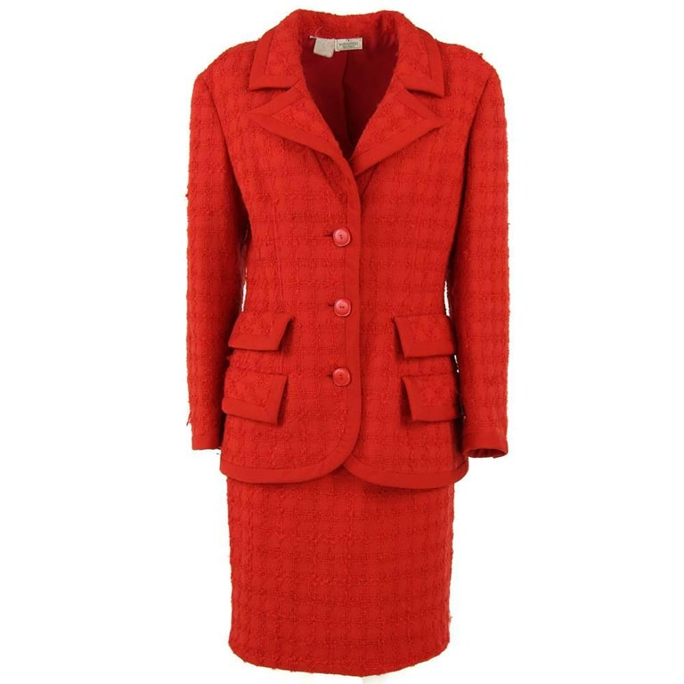 1990s Valentino Red Two-Piece Wool Suit