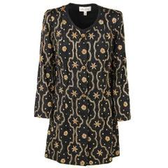 1960s Mila Schon Black Silk Floral Jacket