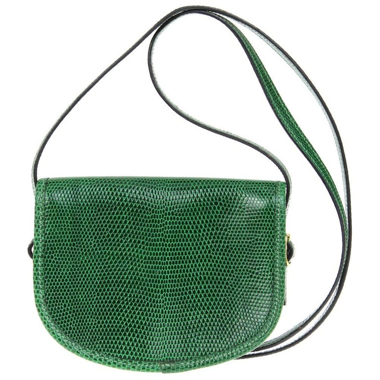 21f23ea06520 Black 1990s Hermès Green Tejus Lizard Crossbody Bag For Sale