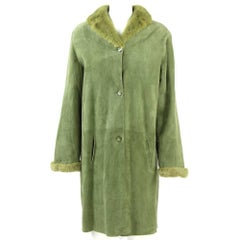 1990s Tailoring Green Sheepskin Coat Hemmed with Mink Fur