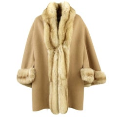1970s Valentino Camel Coat Hemmed with Sable Fur