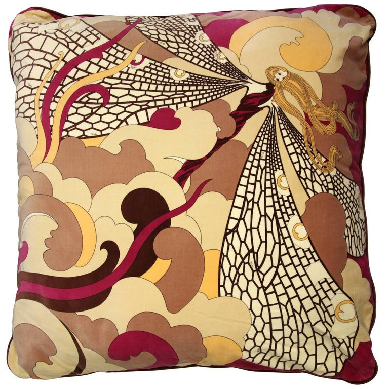 1970s Emilio Pucci Multicolor Velvet Pillow