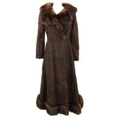 1970s G. Balzani Brown Bukara Persian Lamb Coat Hemmed with Sable Fur