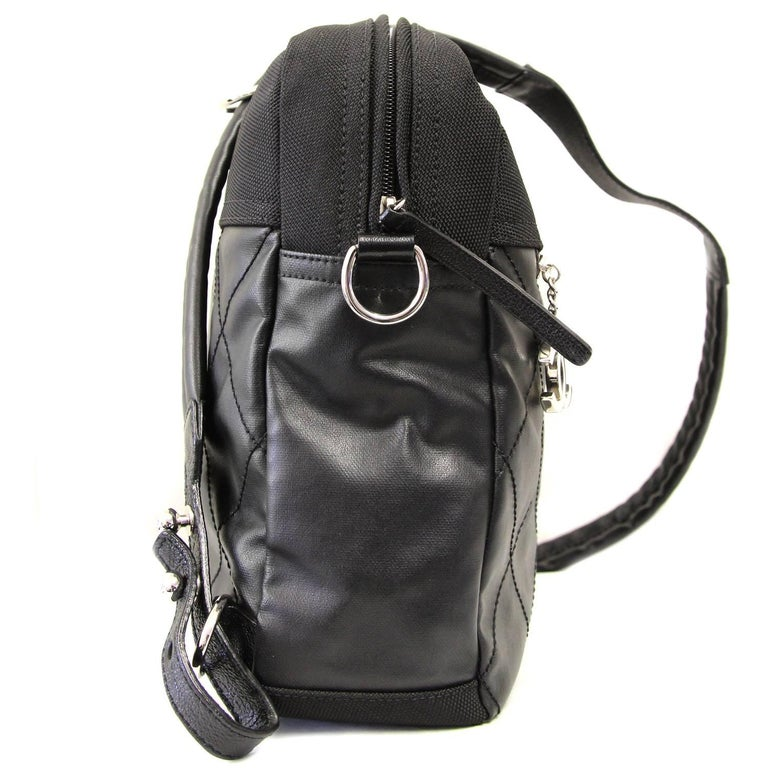 2000s Chanel Black Leather and Nylon Backpack For Sale 4