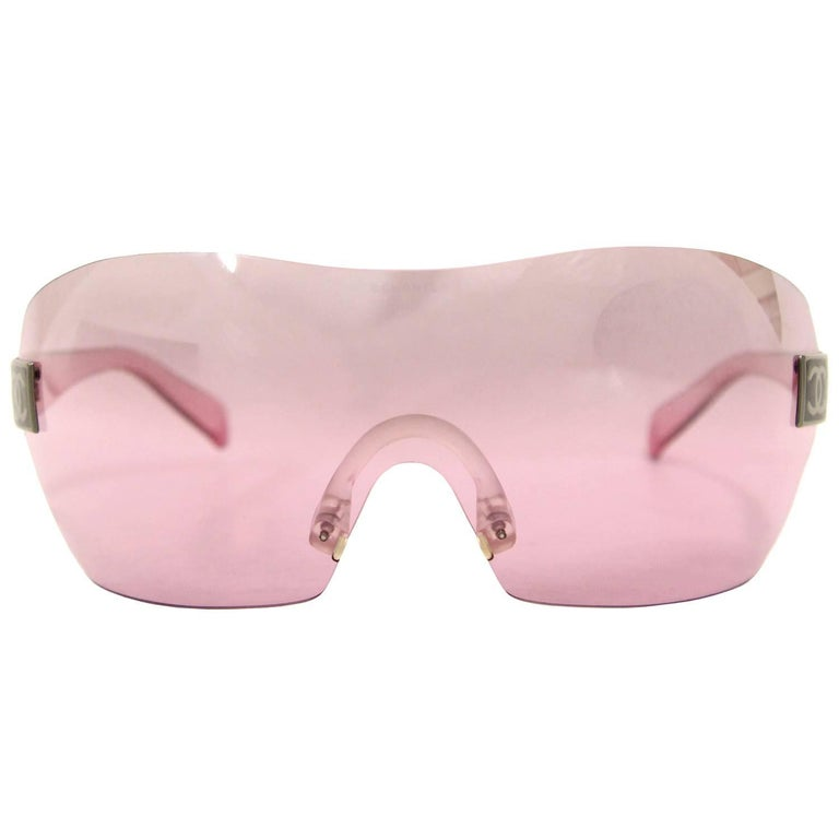 2000s Chanel Transparent Pink Sunglasses
