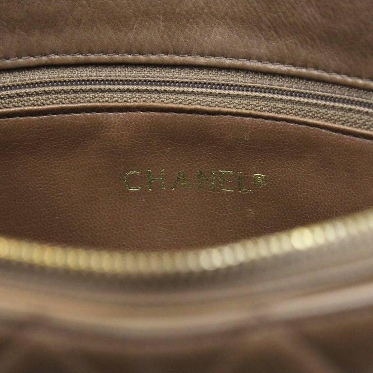 1990s Chanel Brown Leather Matelassé Bag For Sale 1