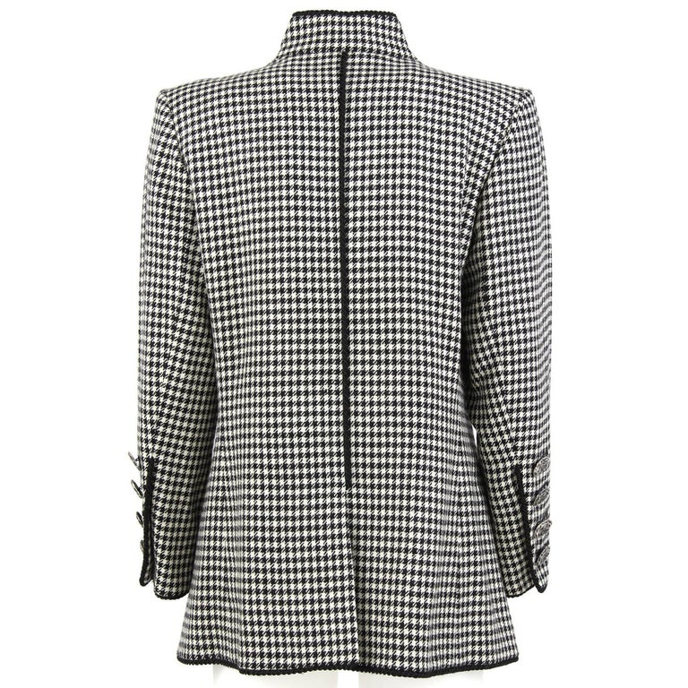 1990s Yves Saint Laurent Black and White Wool Jacket In Good Condition For Sale In Lugo (RA), IT