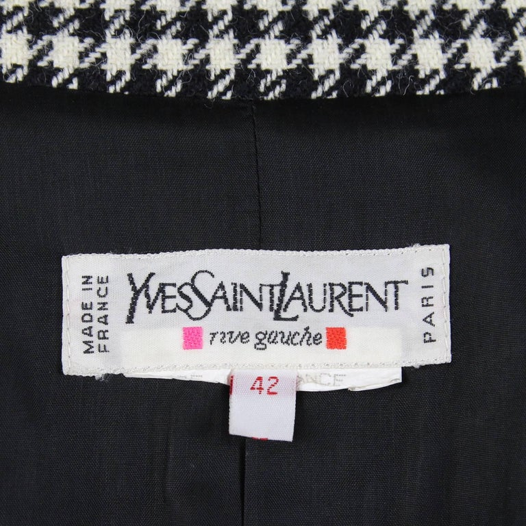 1990s Yves Saint Laurent Black and White Wool Jacket For Sale 3