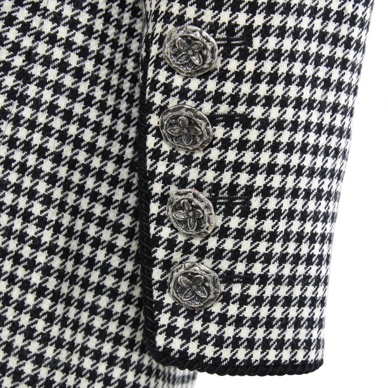 1990s Yves Saint Laurent Black and White Wool Jacket For Sale 1