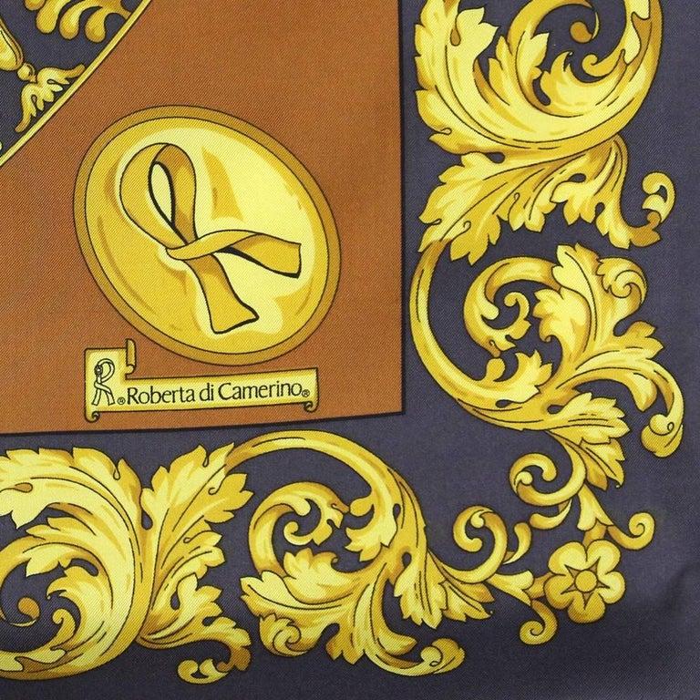 Roberta di Camerino Multicolor Printed Silk Scarf, 1990s  For Sale 1