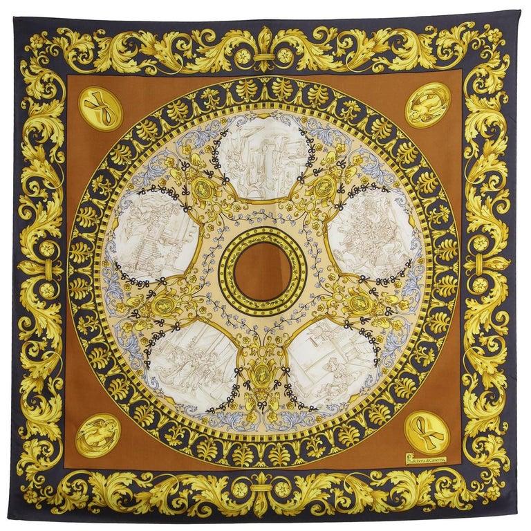 Roberta di Camerino Multicolor Printed Silk Scarf, 1990s  For Sale