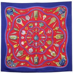 Hermès Multicolor Printed Silk Scarf, 1990s