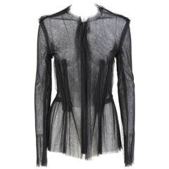 2000s Jeanne Lanvin Black Tulle Veil Top