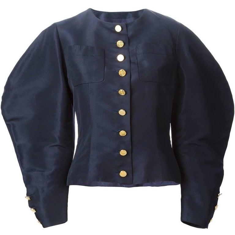 Chanel Blue Silk Vintage Suit, 1990s