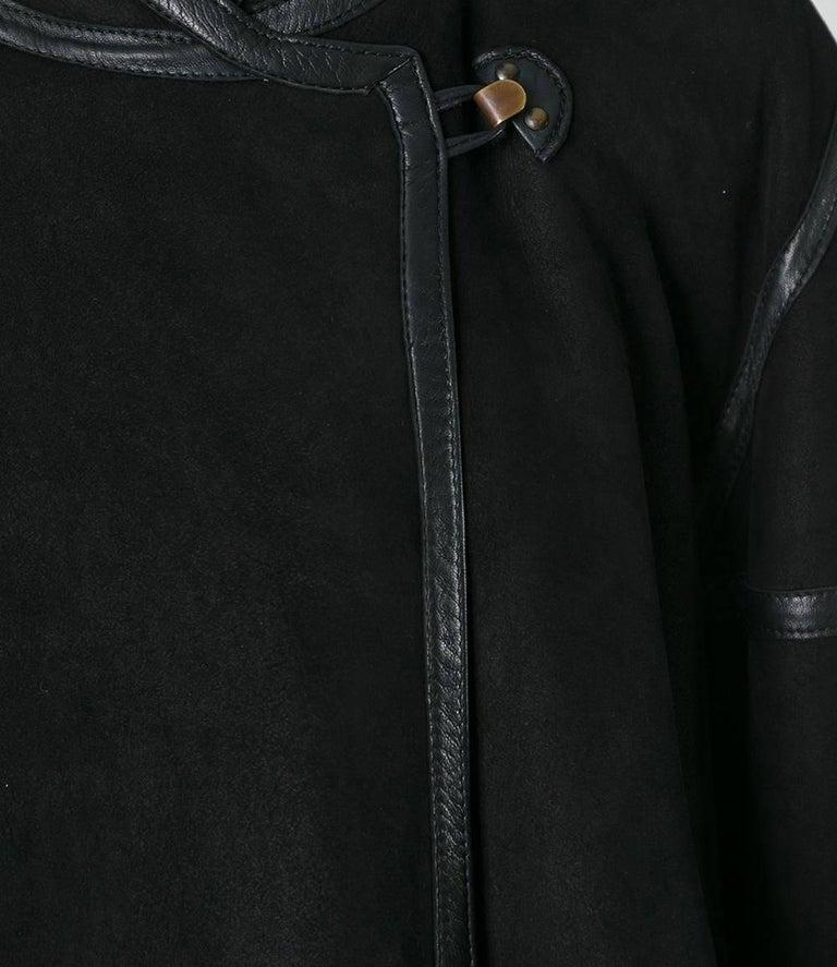Women's Alaïa Black Sheep Skin Vintage Coat, 1980 For Sale