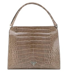 Prada Grey Crocodile Leather Vintage Bag, 2000s