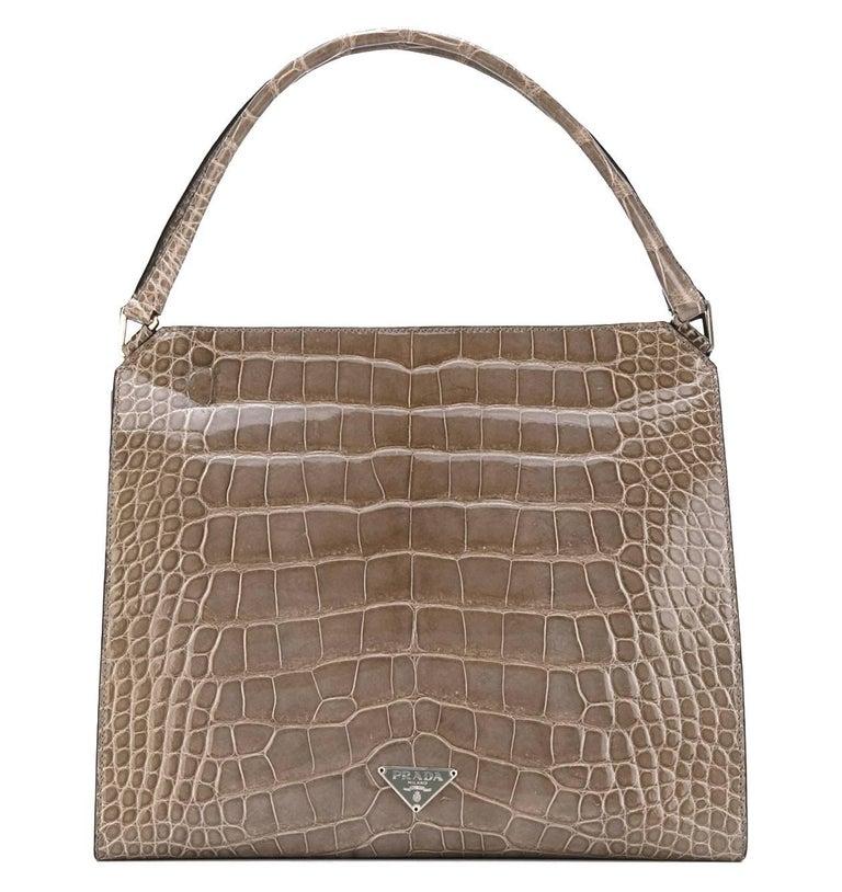 a5a673330585 Prada Grey Crocodile Leather Vintage Bag, 2000s