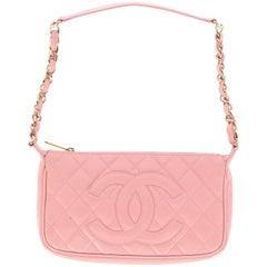 2000s Chanel Vintage Pink Leather Clutch Bag