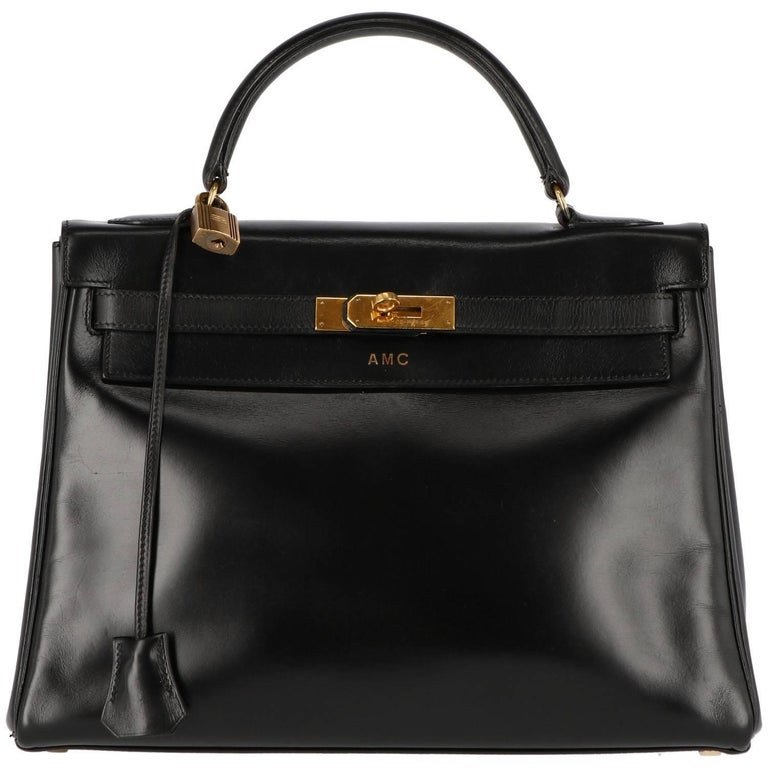 1980s Hermès Vintage Black Leather Kelly Bag