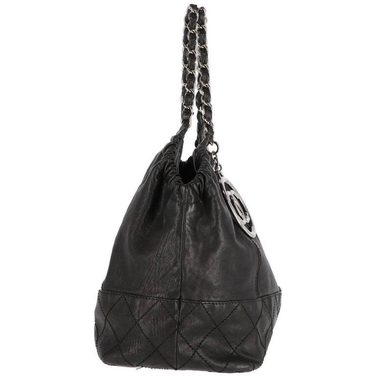Black 2000s Chanel Vintage Coco Cabas Tote Bag For Sale