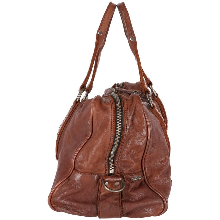 2000s Miu Miu Brown Leather Travel Bag In Excellent Condition For Sale In  Lugo (RA a977d7a1aa
