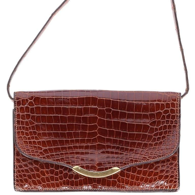 1970s Hermès Vintage Crocodile Leather Crossbody Bag