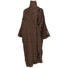 2000s Antonio Marras Brown Jacquard Vintage Overcoat