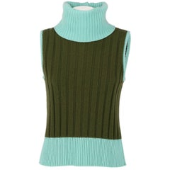 1990s Gianni Versace Green Knitted Vintage Top