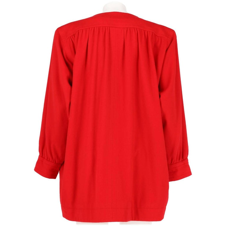 1980s Yves Saint Laurent Red Wool Vintage Jacket In Excellent Condition For Sale In Lugo (RA), IT