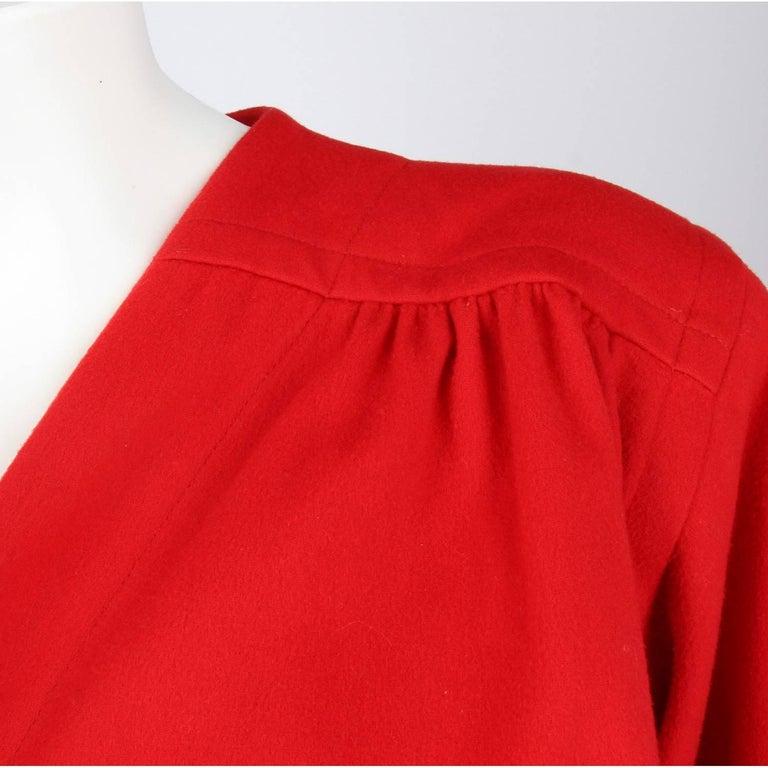 1980s Yves Saint Laurent Red Wool Vintage Jacket For Sale 1
