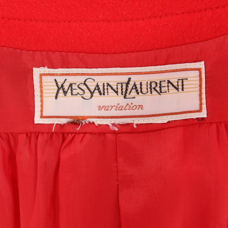 1980s Yves Saint Laurent Red Wool Vintage Jacket For Sale 2